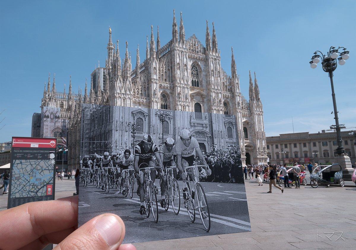 Un Giro d'Italia di tanti anni fa Felice Gimondi a MIlano in piazza Duomo nell'ultima tappa del Giro 1976