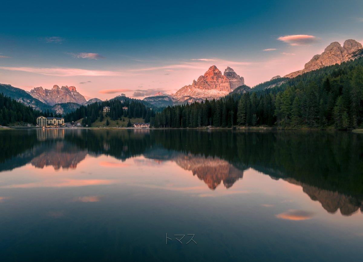 sunset misurina lake