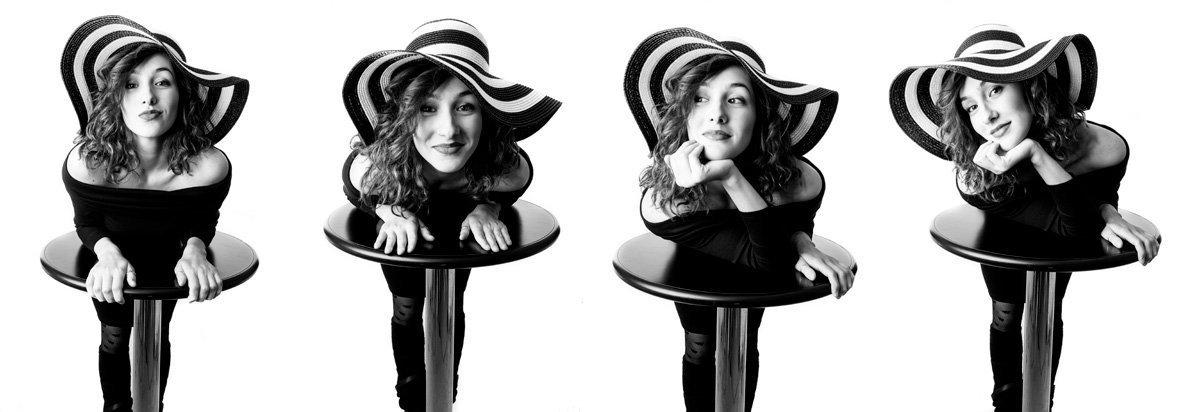donna con cappello su tavolino da bar